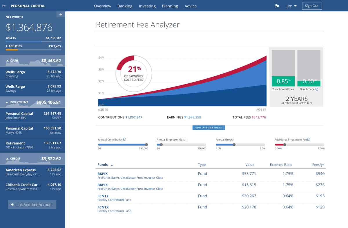 Personal Capital - Retirement Fee Analyzer