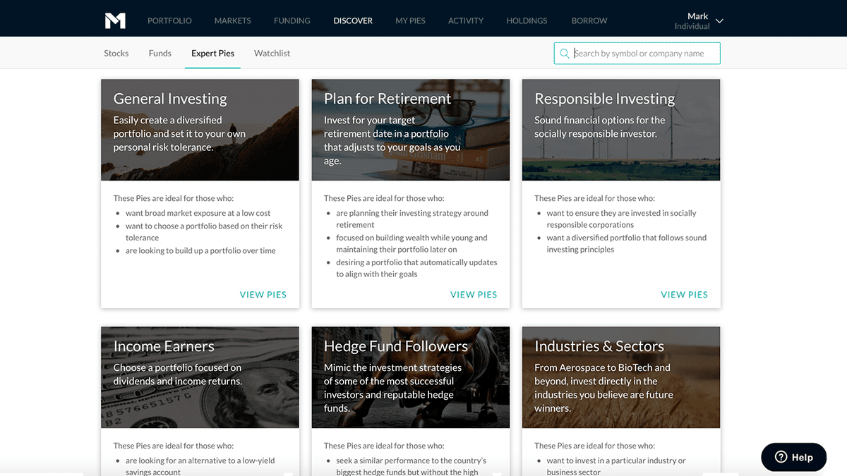 M1 Finance - Discover expert pies